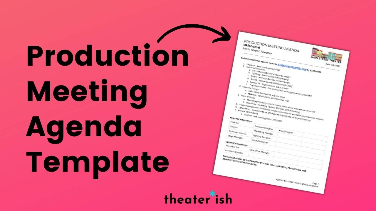 Are the right people there? Theatre Production Meeting Agenda Template
