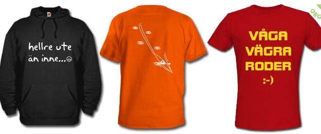Tre tröjor med kajaktryck