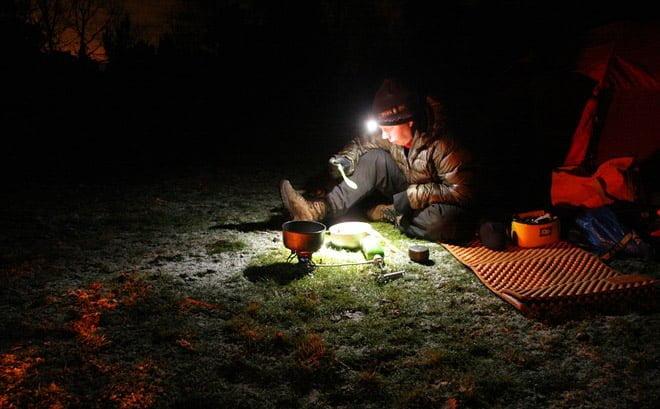 Mys utanför tältet på Slädö