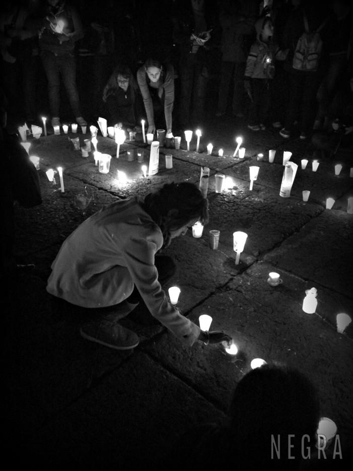 """Protesta en el Zócalo """"Una luz por Ayotzinapa"""". 22 de octubre de 2014."""