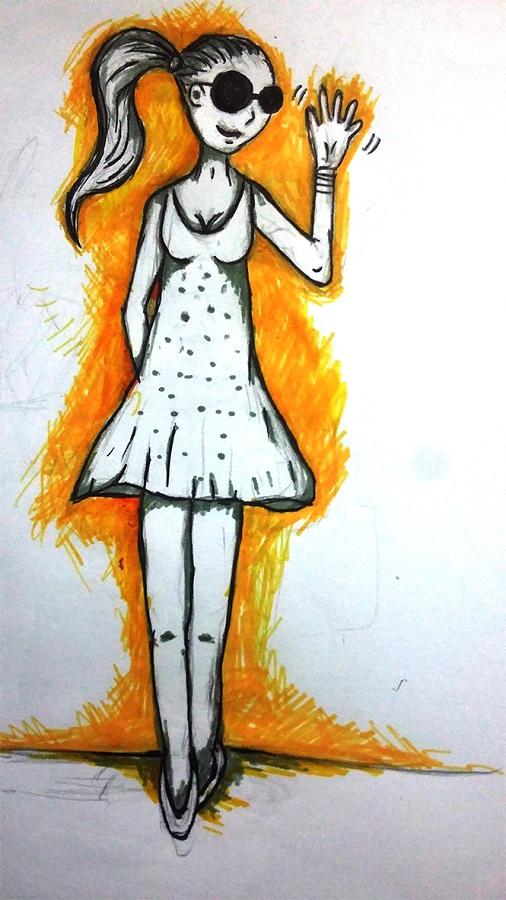 Marcela perfil. Los dias con. Ilustracion M Verazaluce