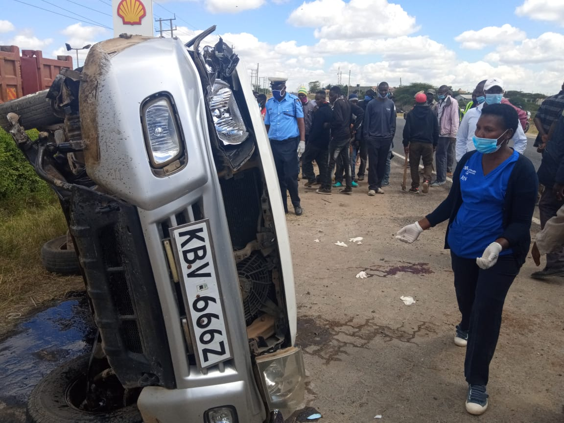A middle-aged man travelling in this car died after it rolled several times in Kajiado town on Thursday afternoon