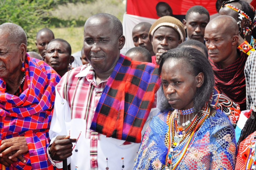 Governor Joseph Lenku and wife Edna during his father's memorial service at their home on January 5 in Lenkisim village, Kajiado.
