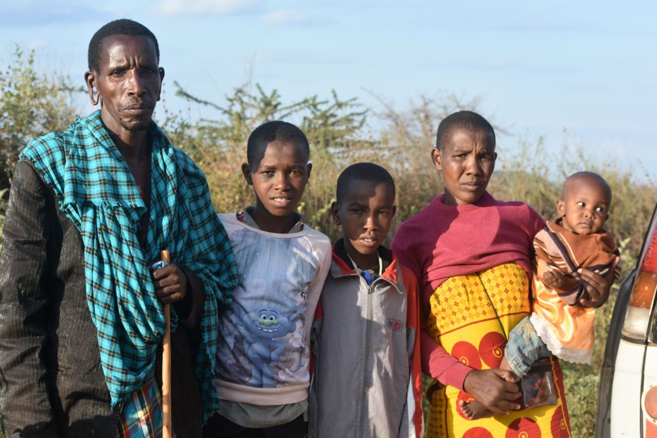 Ntoika ole Leindoi, wife Mitintei and three of their children in the wilderness of Motoriki after they were thrown out of their farm for the second time on Thursday