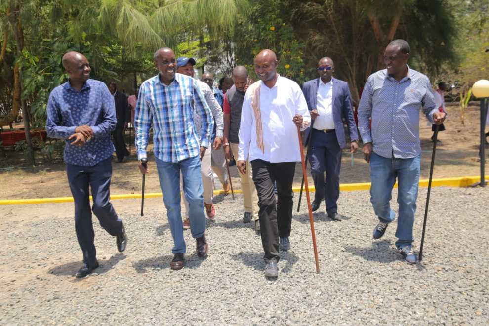 From left - Water Minister Michael Semera, Governor Joseph ole Lenku, Host Clinton Kirotie and MCA Joshua Olowuasa
