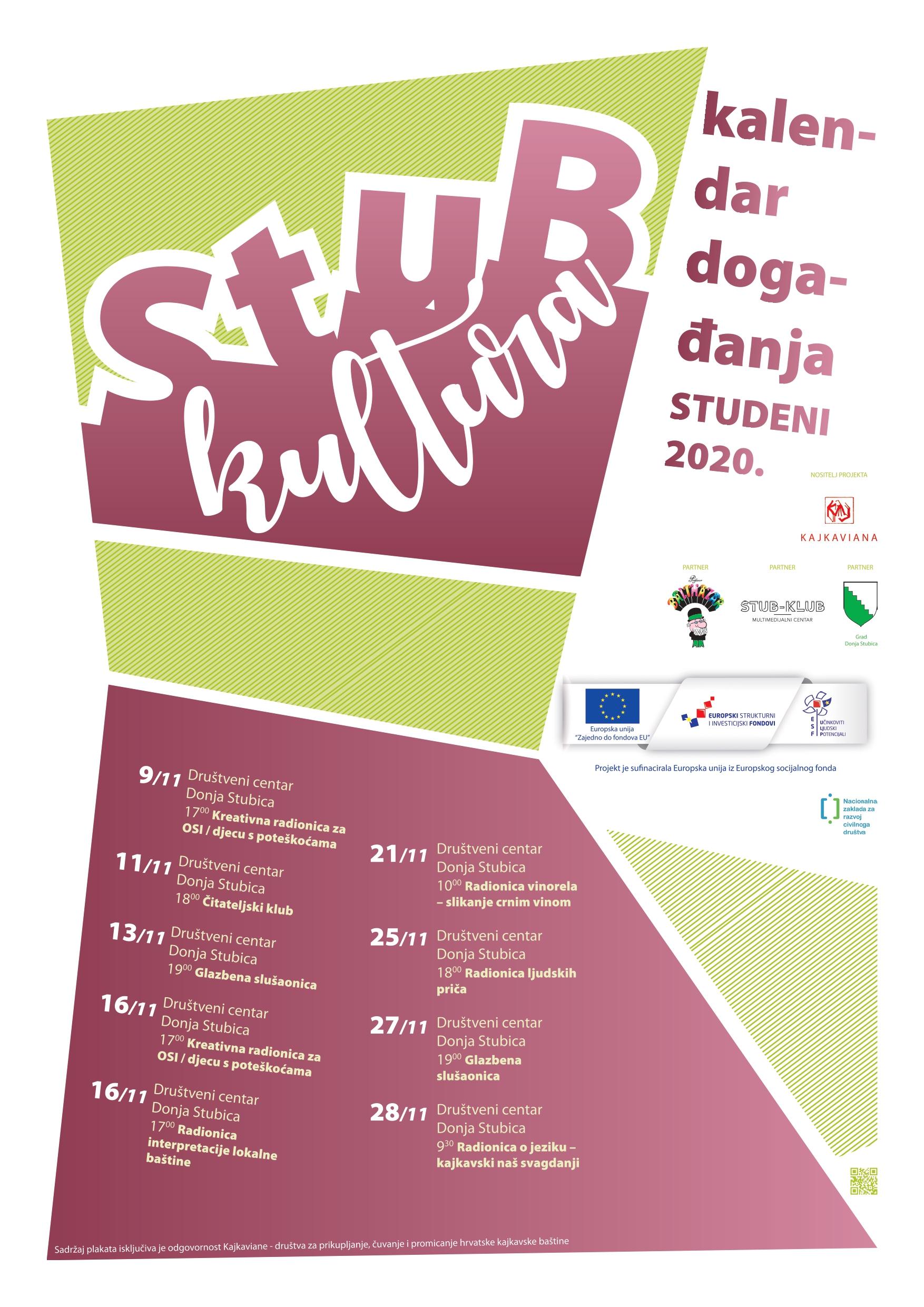 Slika prikazuje kalendar događanja za mjesec studeni u sklopu projekta Stub-kultura.