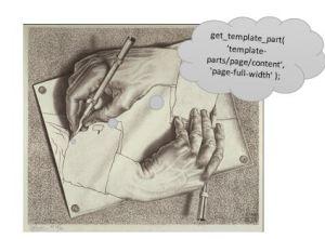 Escher hands and PHP code