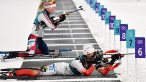 Women's biathlon prone shooting