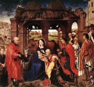 Adoration of Magi famous painting about baby Jesus