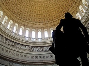 back view of Jefferson statue in Capitol rotunda