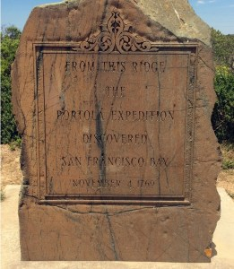 Weathered marker announcing discovery of San Francisco Bay, November 4, 1769
