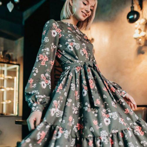 Платье хаки с цветочным принтом
