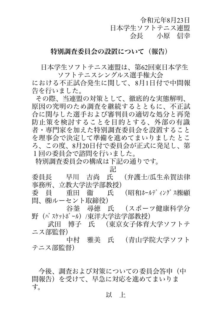 ソフトテニス特別調査委員会