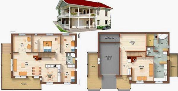 Проекты двухэтажных домов и коттеджей: фото с планом и гаражом