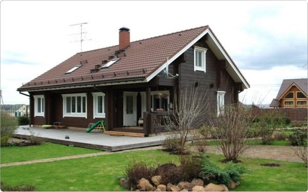 Одноэтажные дома из бруса финские с верандой и проекты Хонка