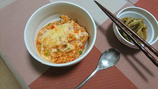 簡単晩飯 トマトリゾット風 お粥 OTOKOMESHI-4