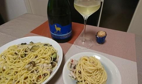 簡単晩飯 パスタ をスパークリングで