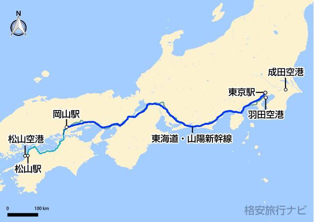 東京〜松山の地図