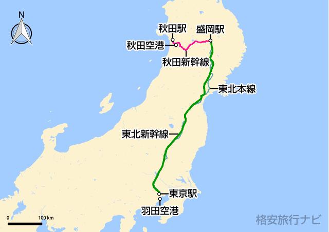 東京〜秋田の地図