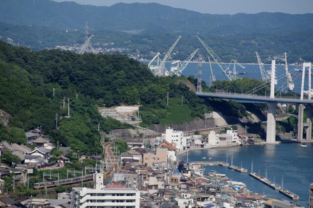 瀬戸内海沿いを走る山陽本線の列車