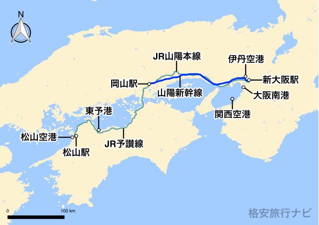 大阪〜松山の地図