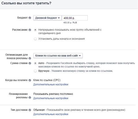 реклама на facebook стоимость