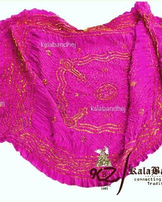Yellow Bandhani Pink GajiSilk Dupatta