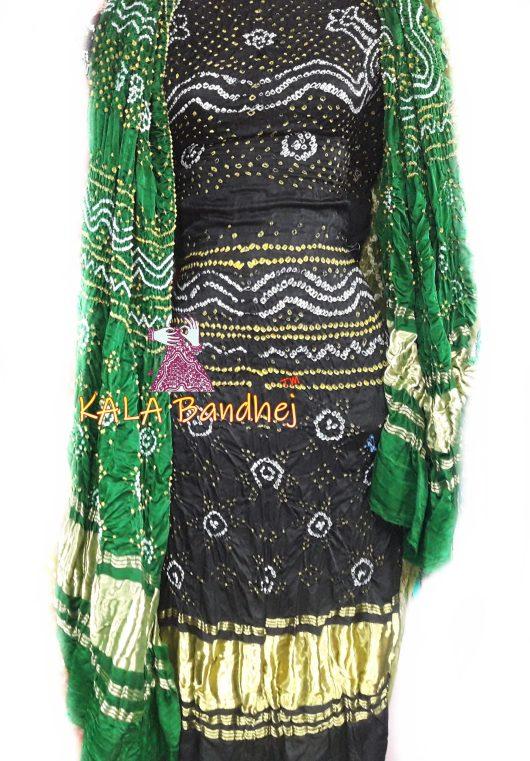 Black GajiSilk Bandhani DressMaterial - Green
