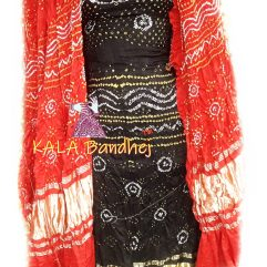 Black GajiSilk Bandhani DressMaterial - Red