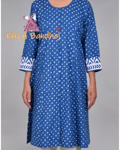 Blue Bandhani Applique Sleeves Kurta