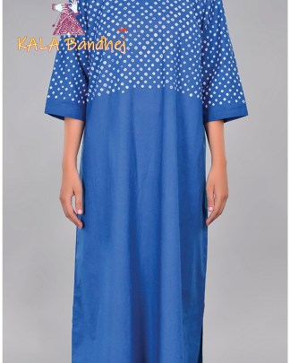 Blue Bandhani Long Pleated Kurta