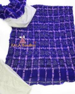 Blue - White Cotton Gharchola DressMaterial