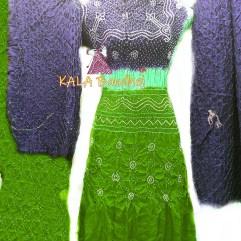 B Gray - Pista - Parrot GajiSilk Bandhani DressMaterial