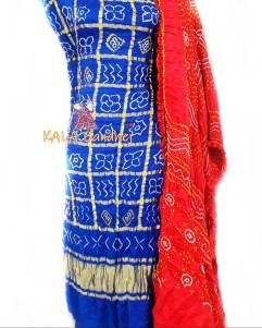Blue - Red GajiSilk Gharchola DressMaterial