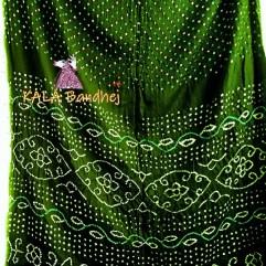 BottleGreen Gaji Silk Bandhani Saree