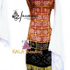 BrickRed-Black - White GajiSilk Gharchola DressMaterial