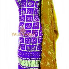 Indigo - Khaki GajiSilk Gharchola DressMaterial