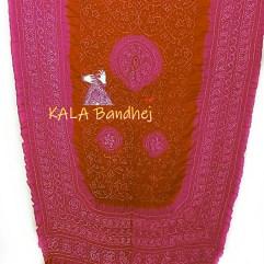 D Pink -OrangeRed GajiSilk Shikari Bandhani Dupatta