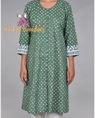Mehndi Green Bandhani Applique Sleeves Kurta