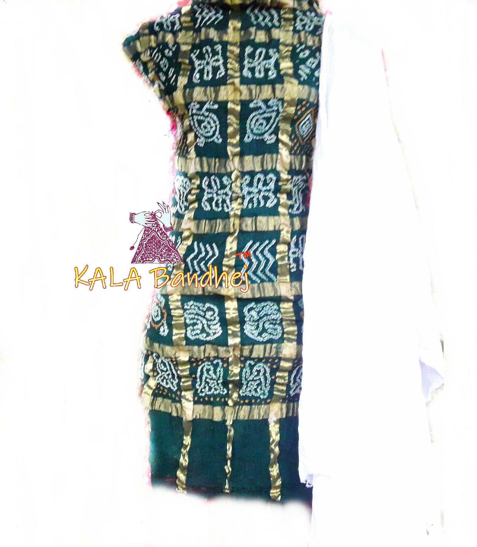 Green - White Cotton Gharchola DressMaterial