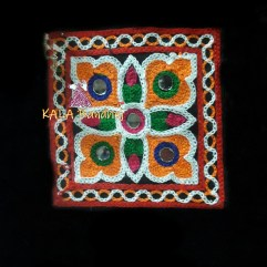 Black Square Kutchi Work Patch