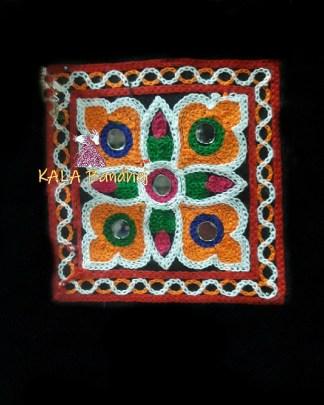 Black Square Kutchi Work Patch