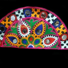 Black Semi-Circle Kutchi Work Patch