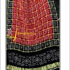 black-Red Gajisilk Bandhani Gharchola Dupatta