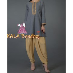 Grey Marori & Bandhej dupatta And Dhoti Pants Suit