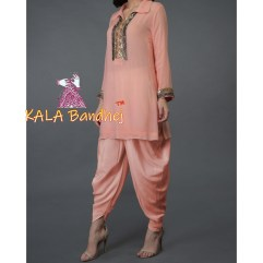 Peach Sequin And Beads Dhoti Pants Suit