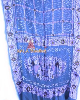 Light Sky Embroidery Bandhani Saree