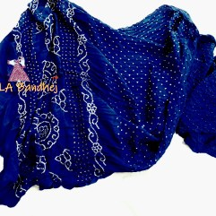 Navy Blue Gaji Silk Saree