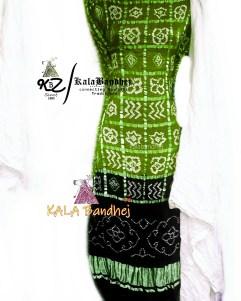 Olive-Black - White GajiSilk Gharchola DressMaterial