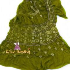 Olive_Green GajiSilk Bandhani Dupatta